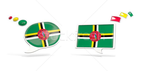Twee chat iconen vlag Dominica vierkante Stockfoto © MikhailMishchenko