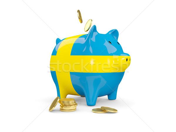 Gordura piggy bank Suécia dinheiro isolado branco Foto stock © MikhailMishchenko