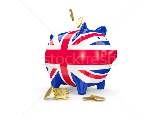 Fat piggy bank with fag of united kingdom Stock photo © MikhailMishchenko