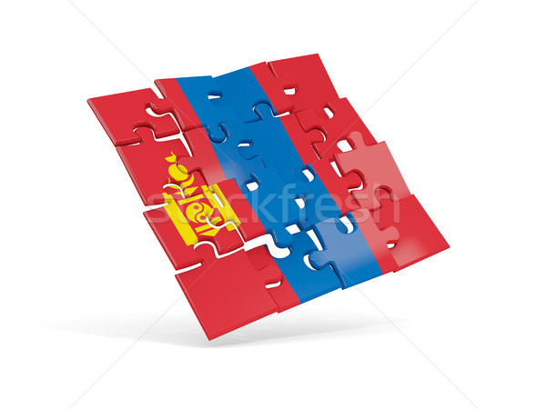 Puzzle flag of mongolia isolated on white Stock photo © MikhailMishchenko