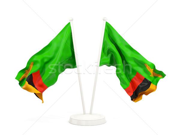 два флагами Замбия изолированный белый Сток-фото © MikhailMishchenko