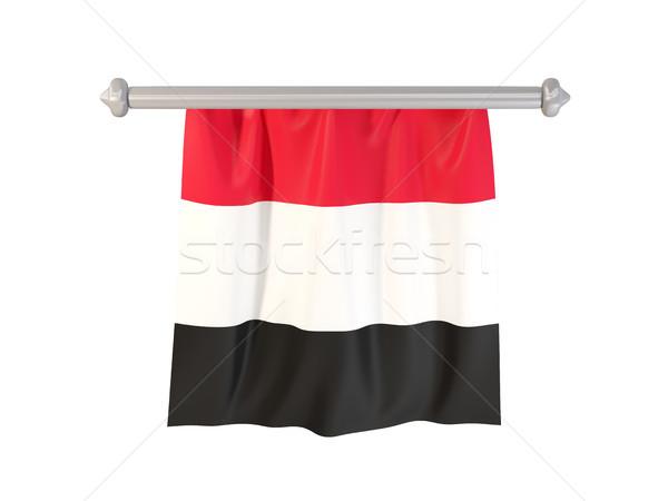 Bandeira Iémen isolado branco ilustração 3d etiqueta Foto stock © MikhailMishchenko