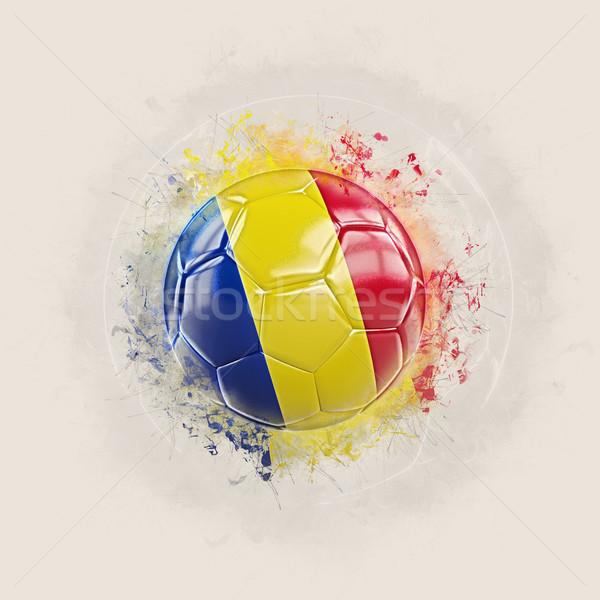 Grunge football with flag of romania Stock photo © MikhailMishchenko