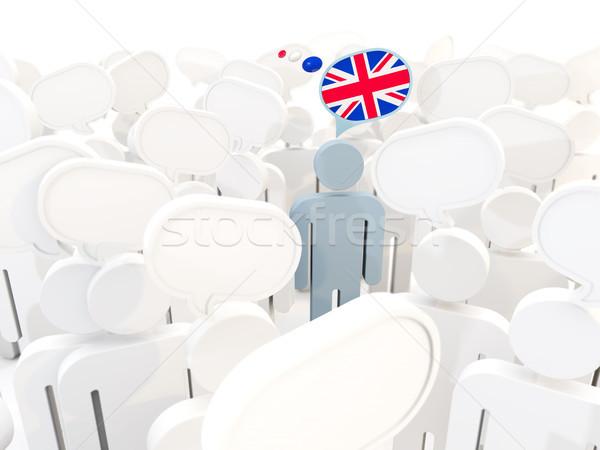 Adam bayrak Büyük Britanya kalabalık 3d illustration imzalamak Stok fotoğraf © MikhailMishchenko