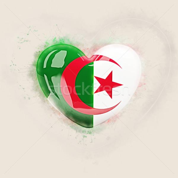 сердце флаг Алжир Гранж 3d иллюстрации путешествия Сток-фото © MikhailMishchenko