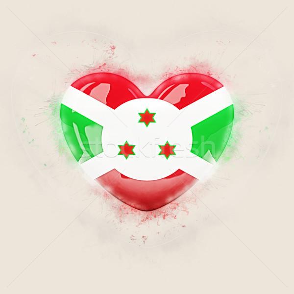 Coração bandeira Burundi grunge ilustração 3d viajar Foto stock © MikhailMishchenko