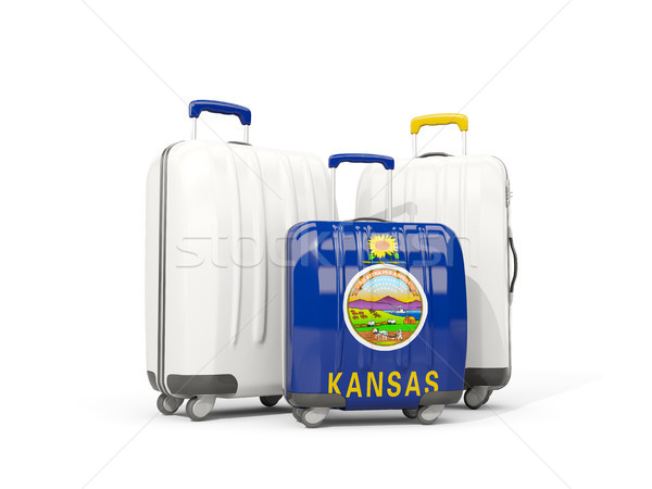 Stock photo: Luggage with flag of kansas. Three bags with united states local