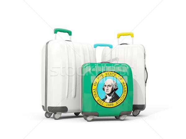 Bagażu banderą Waszyngton trzy torby Stany Zjednoczone Zdjęcia stock © MikhailMishchenko