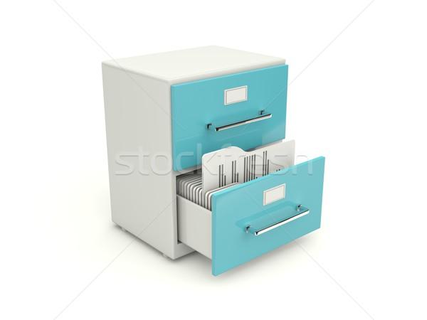 Photo stock: Bleu · archive · placard · icône · isolé · blanche