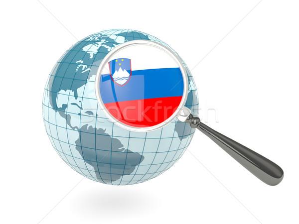 Stok fotoğraf: Bayrak · Slovenya · mavi · dünya · yalıtılmış