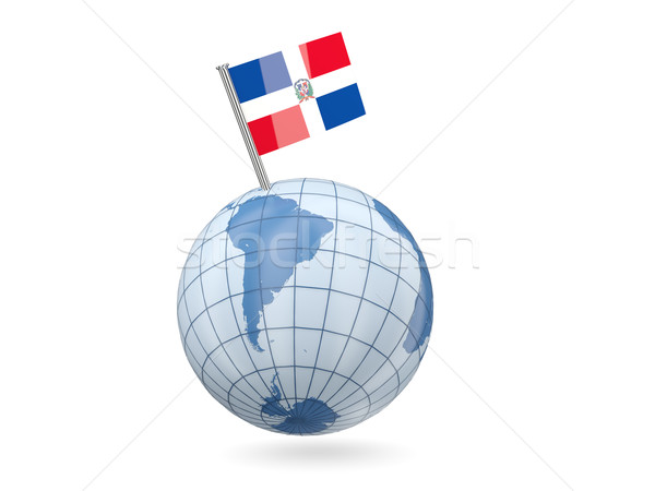 Stok fotoğraf: Dünya · bayrak · Dominik · Cumhuriyeti · mavi · yalıtılmış · beyaz