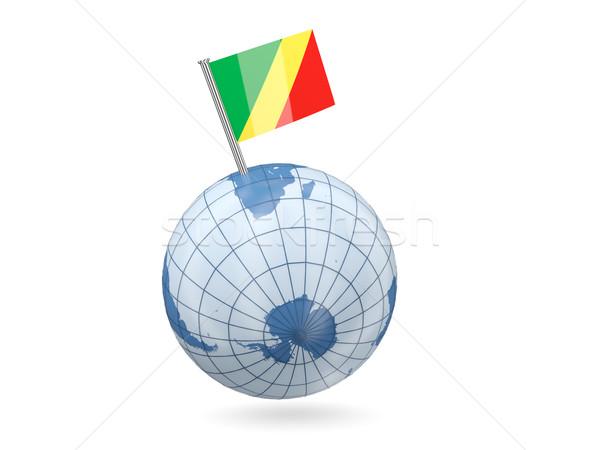 Dünya bayrak cumhuriyet Kongo mavi yalıtılmış Stok fotoğraf © MikhailMishchenko