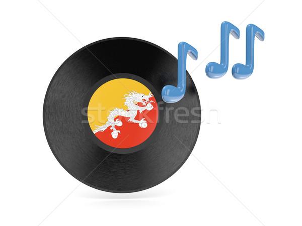 Vinyl schijf vlag Bhutan geïsoleerd witte Stockfoto © MikhailMishchenko