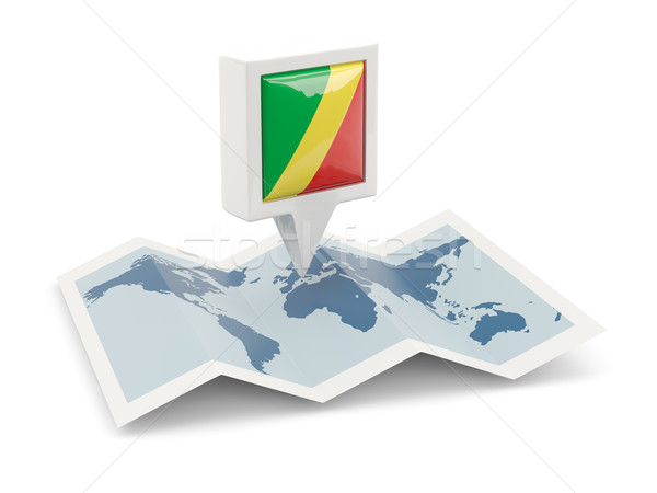 Square pin with flag of republic of the congo on the map Stock photo © MikhailMishchenko