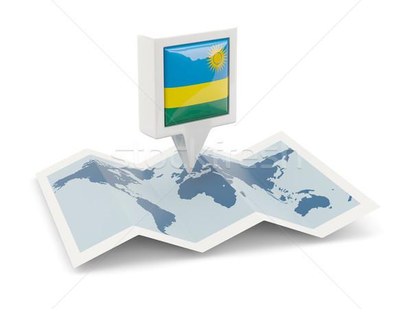 Carré broches pavillon Rwanda carte Voyage Photo stock © MikhailMishchenko