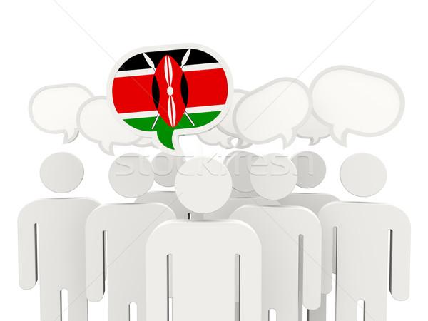 Emberek zászló Kenya izolált fehér megbeszélés Stock fotó © MikhailMishchenko