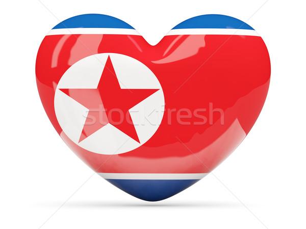 Heart shaped icon with flag of north korea Stock photo © MikhailMishchenko