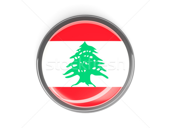 Gomb zászló Libanon fém keret utazás Stock fotó © MikhailMishchenko