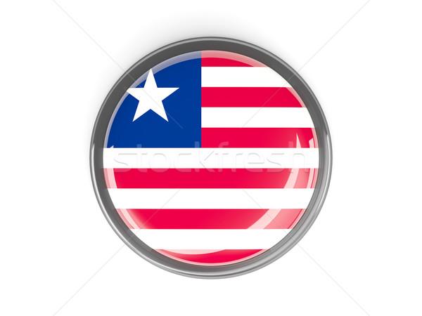 Botão bandeira Libéria metal quadro viajar Foto stock © MikhailMishchenko