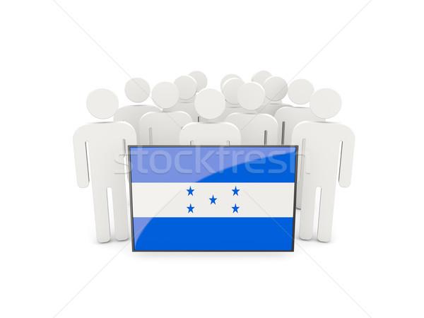 Pessoas bandeira Honduras isolado branco multidão Foto stock © MikhailMishchenko