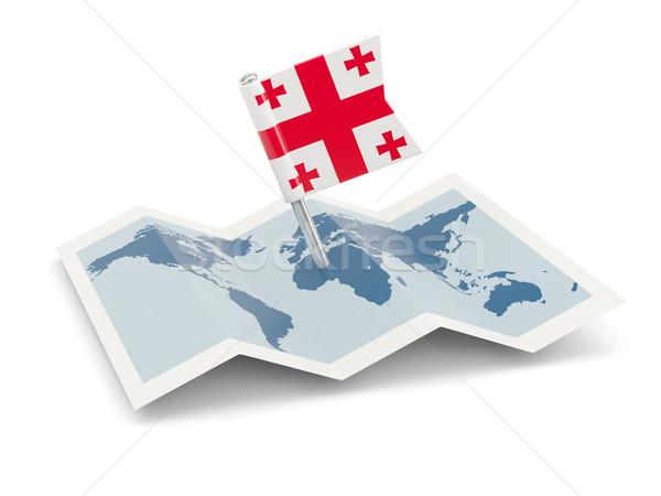 Mappa bandiera Georgia isolato bianco Foto d'archivio © MikhailMishchenko