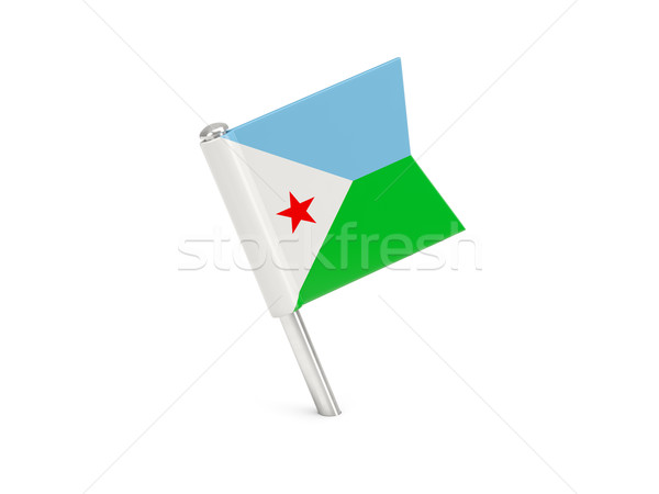 Banderą pin Dżibuti odizolowany biały Zdjęcia stock © MikhailMishchenko