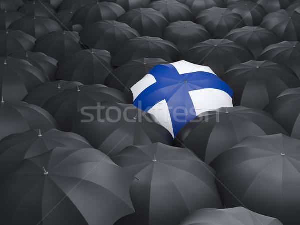 Paraplu vlag Finland zwarte parasols regen Stockfoto © MikhailMishchenko