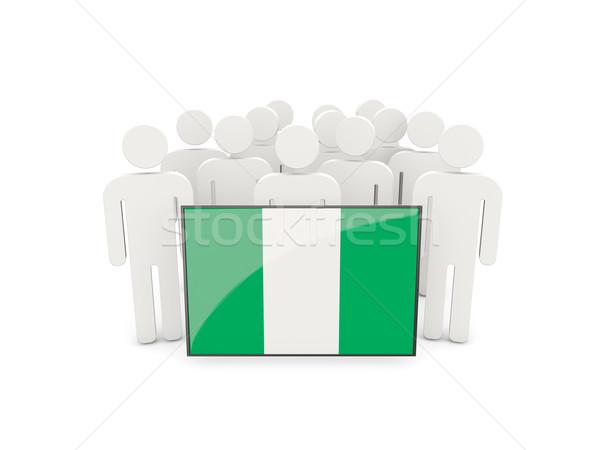 Ludzi banderą Nigeria odizolowany biały tłum Zdjęcia stock © MikhailMishchenko