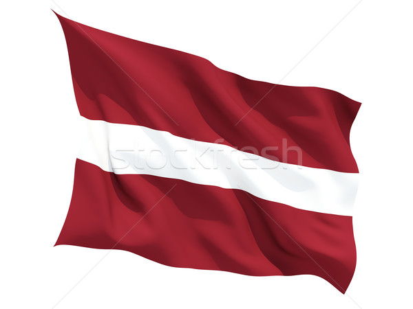 Bandera Letonia aislado blanco Foto stock © MikhailMishchenko