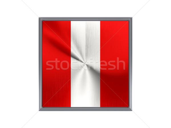 Kare Metal düğme bayrak Peru yalıtılmış Stok fotoğraf © MikhailMishchenko
