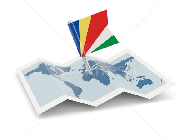 Térkép zászló Seychelle-szigetek izolált fehér Stock fotó © MikhailMishchenko