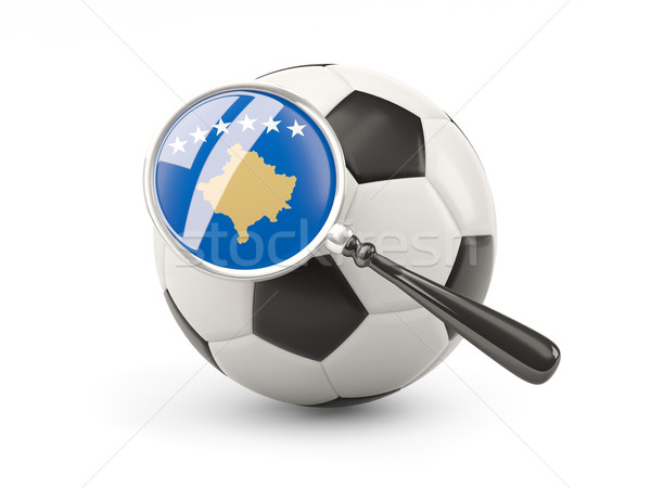 Futebol bandeira Kosovo isolado branco Foto stock © MikhailMishchenko