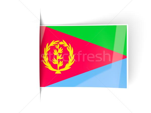квадратный Label флаг Эритрея изолированный белый Сток-фото © MikhailMishchenko