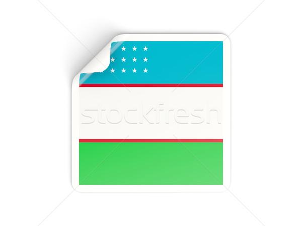 Tér matrica zászló Üzbegisztán izolált fehér Stock fotó © MikhailMishchenko