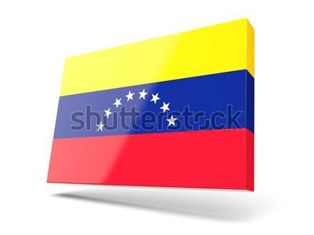 Tér fém gomb zászló Venezuela izolált Stock fotó © MikhailMishchenko