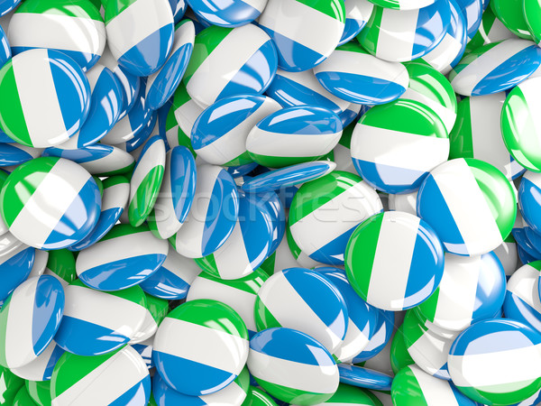 Stock photo: Background with round pins with flag of sierra leone