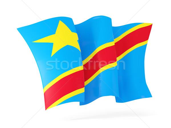 Flagge demokratischen Republik Kongo 3D-Darstellung Stock foto © MikhailMishchenko