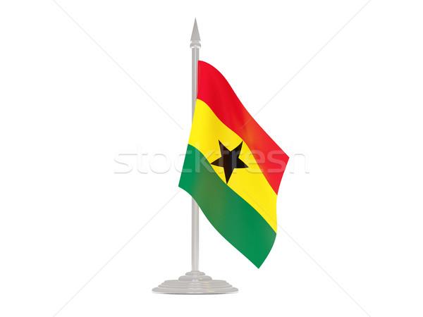 Pavillon Ghana mât rendu 3d isolé blanche Photo stock © MikhailMishchenko