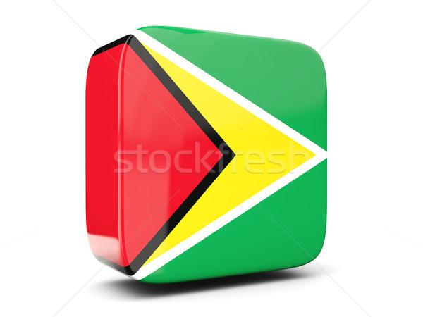 Vierkante icon vlag Guyana 3d illustration geïsoleerd Stockfoto © MikhailMishchenko