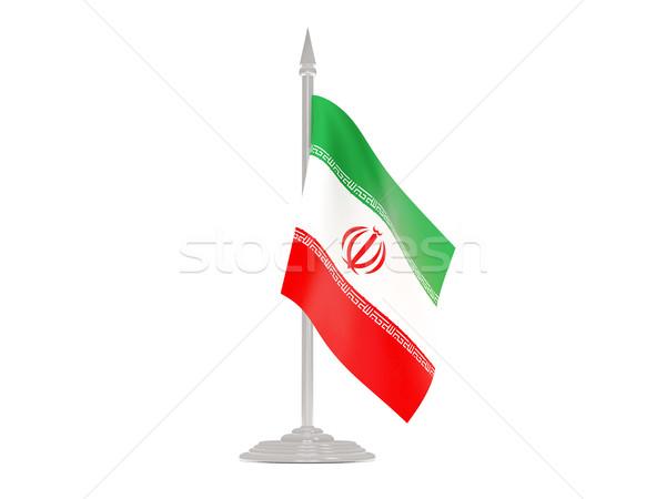 флаг Иран флагшток 3d визуализации изолированный белый Сток-фото © MikhailMishchenko