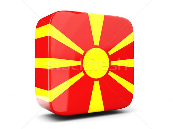 Square icon with flag of macedonia square. 3D illustration Stock photo © MikhailMishchenko