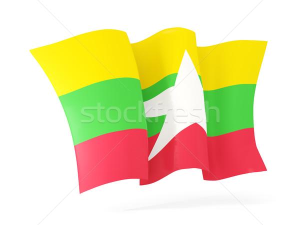 флаг Мьянма 3d иллюстрации изолированный белый Сток-фото © MikhailMishchenko