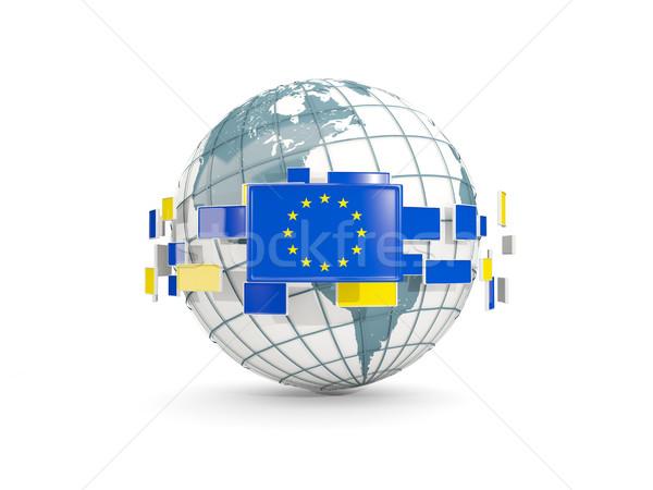 Globe with flag of european union isolated on white Stock photo © MikhailMishchenko
