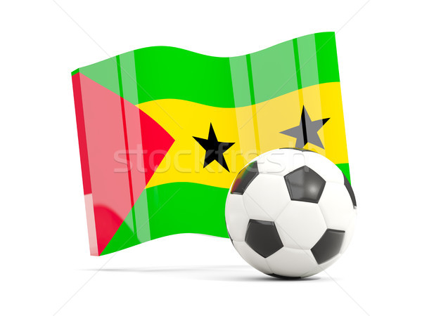 Football with waving flag of sao tome and principe isolated on w Stock photo © MikhailMishchenko