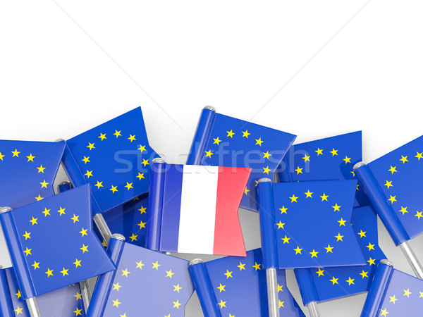 Flag pins of France and EU isolated on white Stock photo © MikhailMishchenko