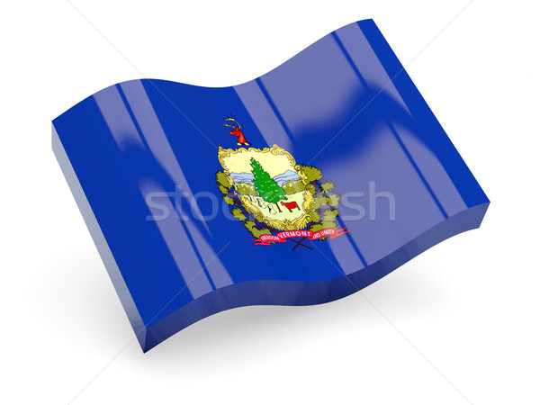 Bandeira onda ícone isolado branco ilustração 3d Foto stock © MikhailMishchenko