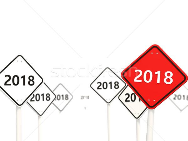 Stok fotoğraf: Yılbaşı · simge · yol · işareti · 3d · illustration · imzalamak · kırmızı