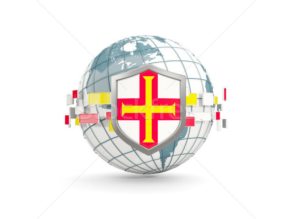 Globe and shield with flag of guernsey isolated on white Stock photo © MikhailMishchenko