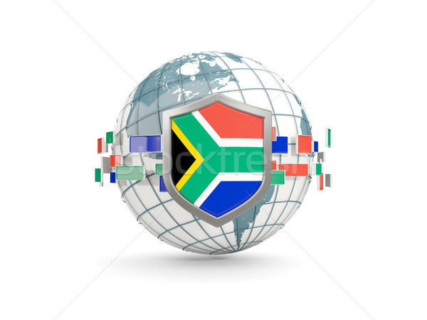 Globe and shield with flag of south africa isolated on white Stock photo © MikhailMishchenko