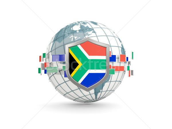 Foto d'archivio: Mondo · scudo · bandiera · Sudafrica · isolato · bianco